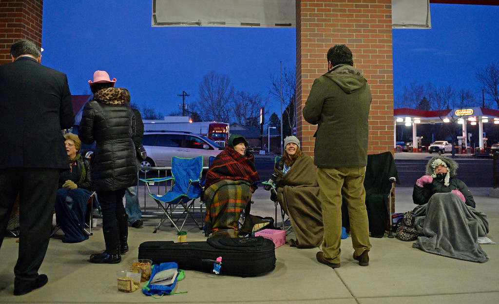 . DENVER, CO - FEBRUARY 14: People line up for the grand opening of specialty grocer Trader Joe\'s located on Colorado Blvd. and East 8th Avenue in Denver, February, 14 2014. Two other Trader Joe\'s locations in Colorado will also open today. (Photo by RJ Sangosti/The Denver Post)