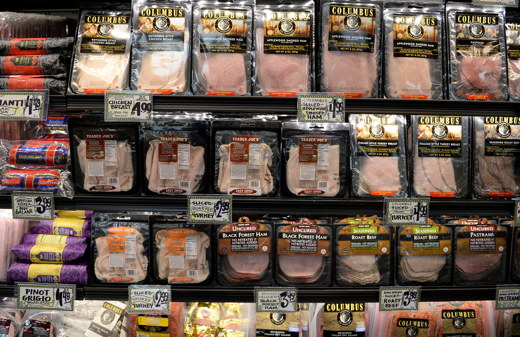 . Deli meats line the shelves at the new Trader Joe\'s, located on Colorado Blvd. and East 8th Avenue in Denver, for the grand opening of specialty grocer, February, 14 2014. Two other Trader Joe\'s locations in Colorado will also open today. (Photo by RJ Sangosti/The Denver Post)