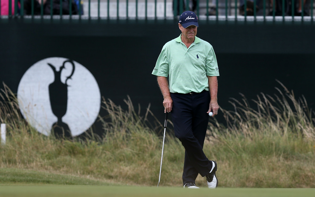 . Tom Watson of the US waits to play on the 3rd green during the second day of the British Open Golf championship at the Royal Liverpool golf club, Hoylake, England, Friday July 18, 2014. (AP Photo/Scott Heppell)