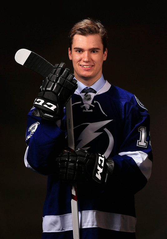 . Jonathan Drouin poses for a portrait after being selected number three overall in the first round by the Tampa Bay Lightning during the 2013 NHL Draft at the Prudential Center on June 30, 2013 in Newark, New Jersey.  (Photo by Jamie Squire/Getty Images)