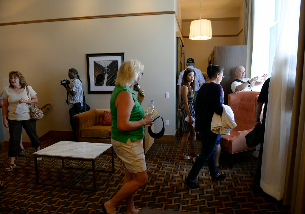 . Visitors get a free tour of the building including one of the Crawford Hotel rooms. Denver Union Station hosts a public event for their grand opening celebration featuring food trucks and live music on Wynkoop Street and free tours of the building. (Photo by Kathryn Scott Osler/The Denver Post)