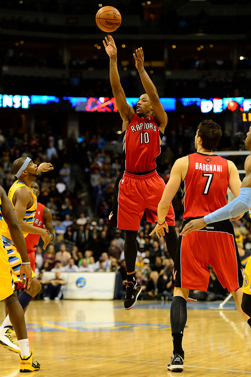 . Toronto Raptors shooting guard DeMar DeRozan (10) misses a game-tying shot at the buzzer during the second half of the Nuggets\' 113-110 win at the Pepsi Center on Monday, December 3, 2012. AAron Ontiveroz, The Denver Post