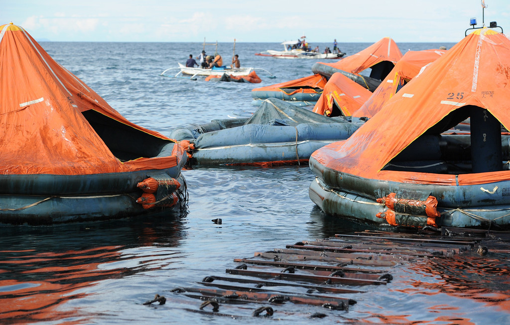 . Life rafts from the sunken ferry St. Thomas Aquinas are pictured on the sea on August 17, 2013 after it collided with a cargo ship the night before off the town of Talisay near the Philippines\' second largest city of Cebu. Philippine rescuers searched on August 17 for more than 200 people missing after the ferry collided with the cargo ship in thick darkness and sank almost instantly, with 26 already confirmed dead. TED ALJIBE/AFP/Getty Images