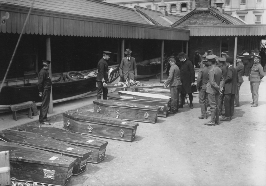 . May 1915:  The coffins of victims of the Lusitania disaster outside the offices of the Cunard Company.  (Photo by Topical Press Agency/Getty Images)