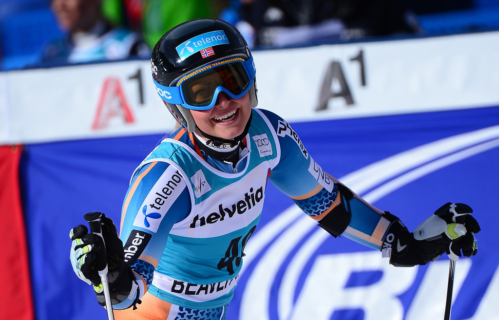 . Norway\'s Ragnhild Mowinckel reacts after crossing the finish line to place eighth in the women\'s giant slalom at the FIS Ski World Cup in Beaver Creek, Colorado, on December 1, 2013.   EMMANUEL DUNAND/AFP/Getty Images