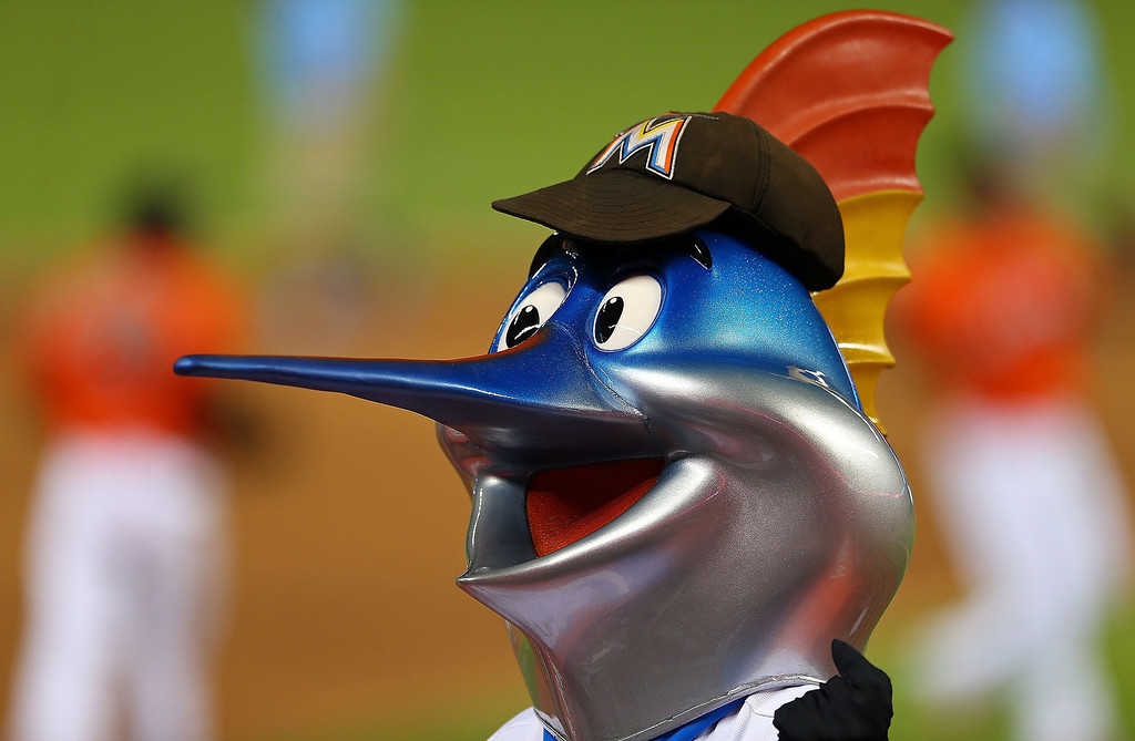 . Billy the Marlin looks on during Opening Day  between the Miami Marlins and the Colorado Rockies at Marlins Park on March 31, 2014 in Miami, Florida.  (Photo by Mike Ehrmann/Getty Images)