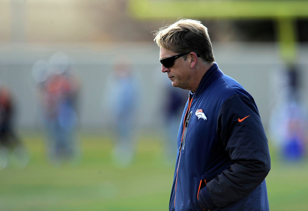 . Denver Broncos defensive coordinator Jack Del Rio wonders the field during practice November 4, 2013 at Dove Valley. The Denver Broncos on Monday named Defensive Coordinator Jack Del Rio as the team�s interim head coach, Executive Vice President of Football Operations John Elway announced.  (Photo by John Leyba/The Denver Post)