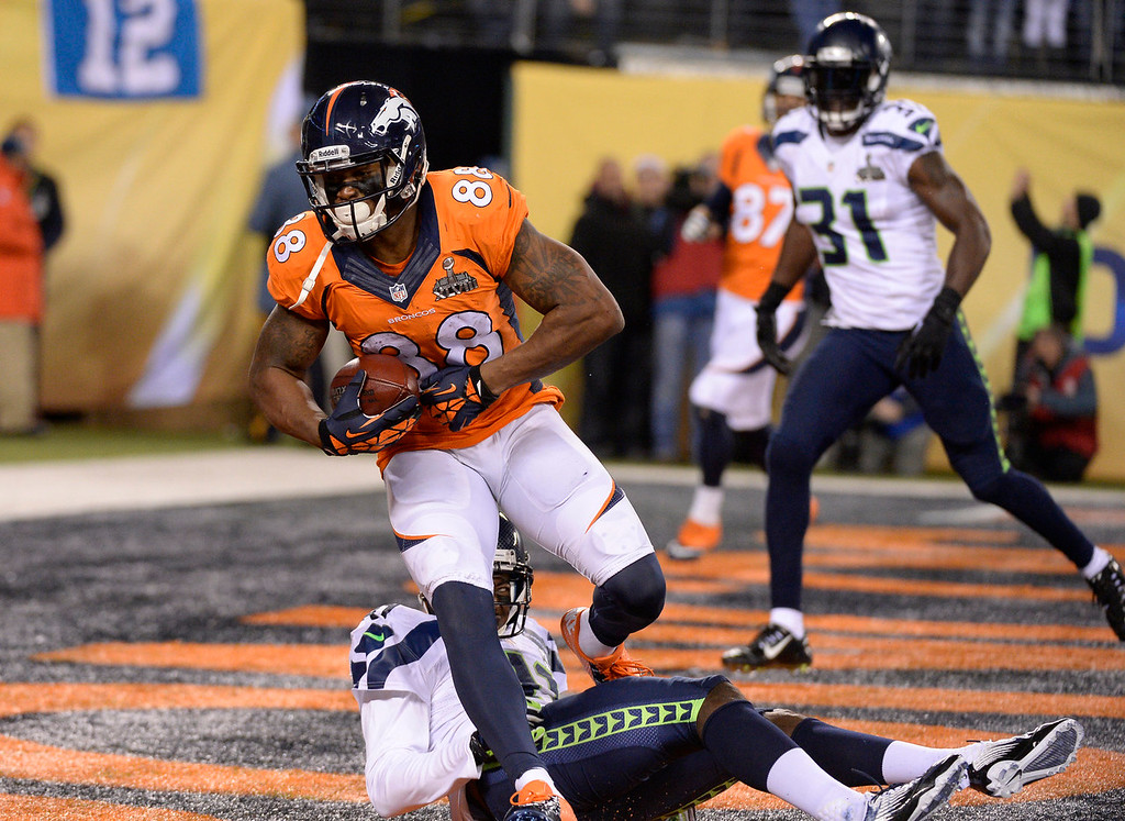 . Denver Broncos wide receiver Demaryius Thomas (88) scores the Denver Broncos only touchdown of the game. The Denver Broncos vs the Seattle Seahawks in Super Bowl XLVIII at MetLife Stadium in East Rutherford, New Jersey Sunday, February 2, 2014. (Photo by John Leyba/The Denver Post)