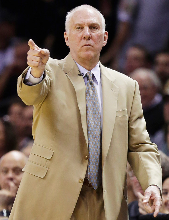 . San Antonio Spurs head coach Gregg Popovich works the sideline against the Miami Heat during the first half in Game 2 of the NBA basketball finals on Sunday, June 8, 2014, in San Antonio. (AP Photo/Eric Gay)