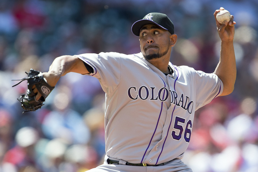 . CLEVELAND, OH - MAY 31: Starting pitcher Franklin Morales #56 of the Colorado Rockies pitches during the second inning against the Cleveland Indians at Progressive Field on May 31, 2014 in Cleveland, Ohio. (Photo by Jason Miller/Getty Images)