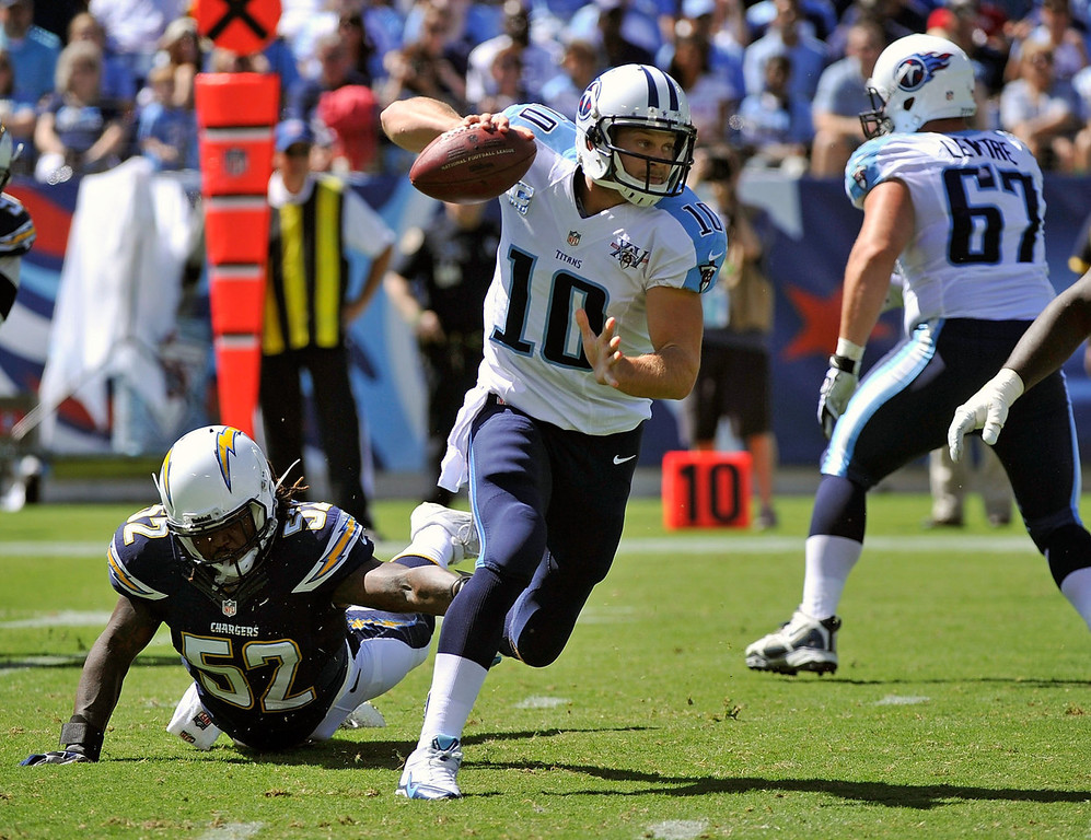 . Quarterback Jake Locker #10 of the Tennessee Titans scrambles against the San Diego Chargers at LP Field on September 22, 2013 in Nashville, Tennessee.  (Photo by Frederick Breedon/Getty Images)