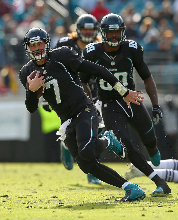 . Chad Henne #7 of the Jacksonville Jaguars scrambles during a game against the New England Patriots at EverBank Field on December 23, 2012 in Jacksonville, Florida.  (Photo by Mike Ehrmann/Getty Images)