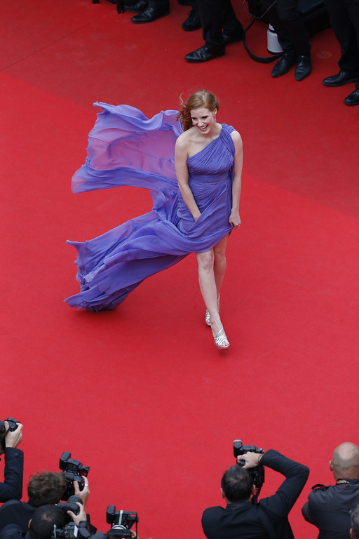 """. Jessica Chastain attends the \""""Foxcatcher\"""" premiere during the 67th Annual Cannes Film Festival on May 19, 2014 in Cannes, France.  (Photo by Horcajuelo Guillaume - Pool/Getty Images)"""