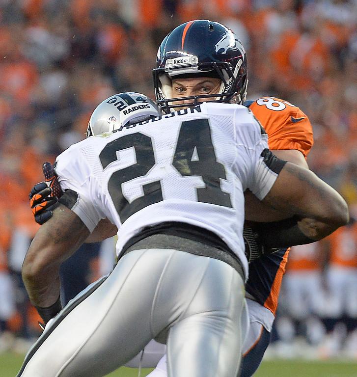 . DENVER, CO - SEPTEMBER 23: Denver Broncos wide receiver Wes Welker (83) gets hit in the first quarter. The Denver Broncos took on the Oakland Raiders at Sports Authority Field at Mile High in Denver on September 23, 2013. (Photo by John Leyba/The Denver Post)
