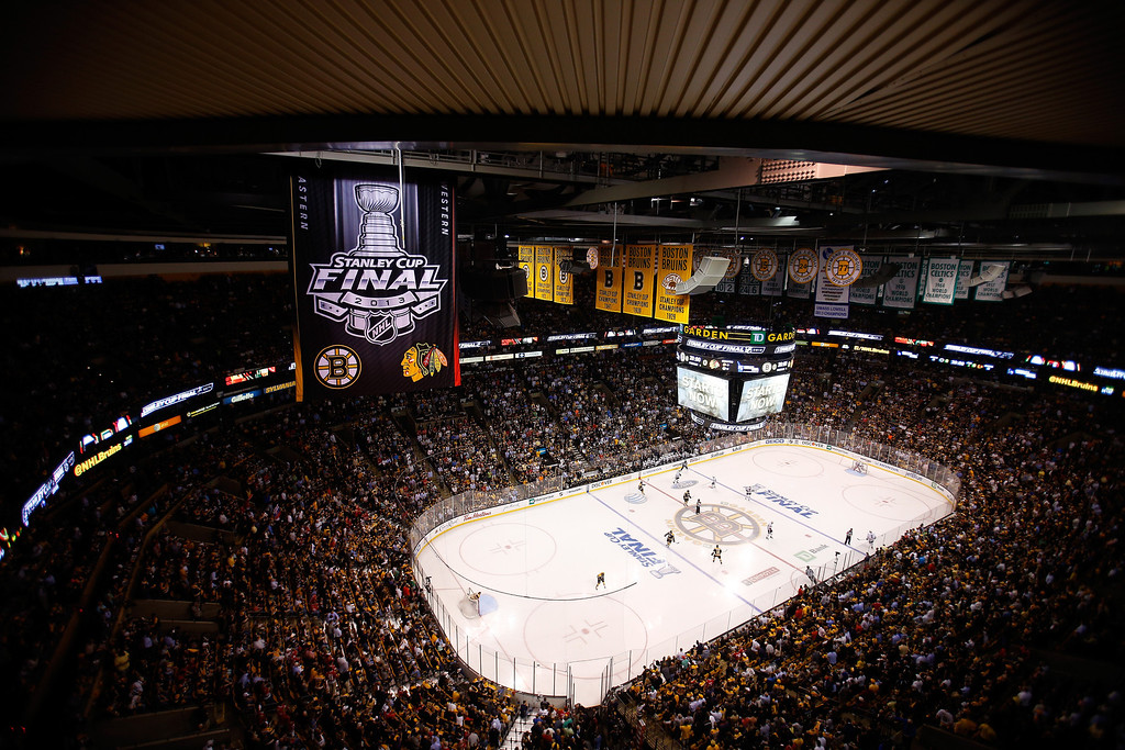 . A general view of Game Four of the 2013 NHL Stanley Cup Final between the Chicago Blackhawks and the Boston Bruins at TD Garden on June 19, 2013 in Boston, Massachusetts.  (Photo by Jim Rogash/Getty Images)