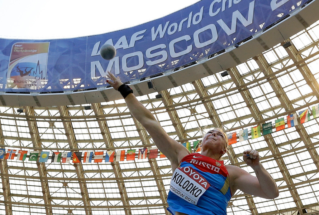 . Russia\'s Evgeniia Kolodko competes in the women\'s shot put qualification at the World Athletics Championships in the Luzhniki stadium in Moscow, Russia, Sunday, Aug. 11, 2013. (AP Photo/David J. Phillip)