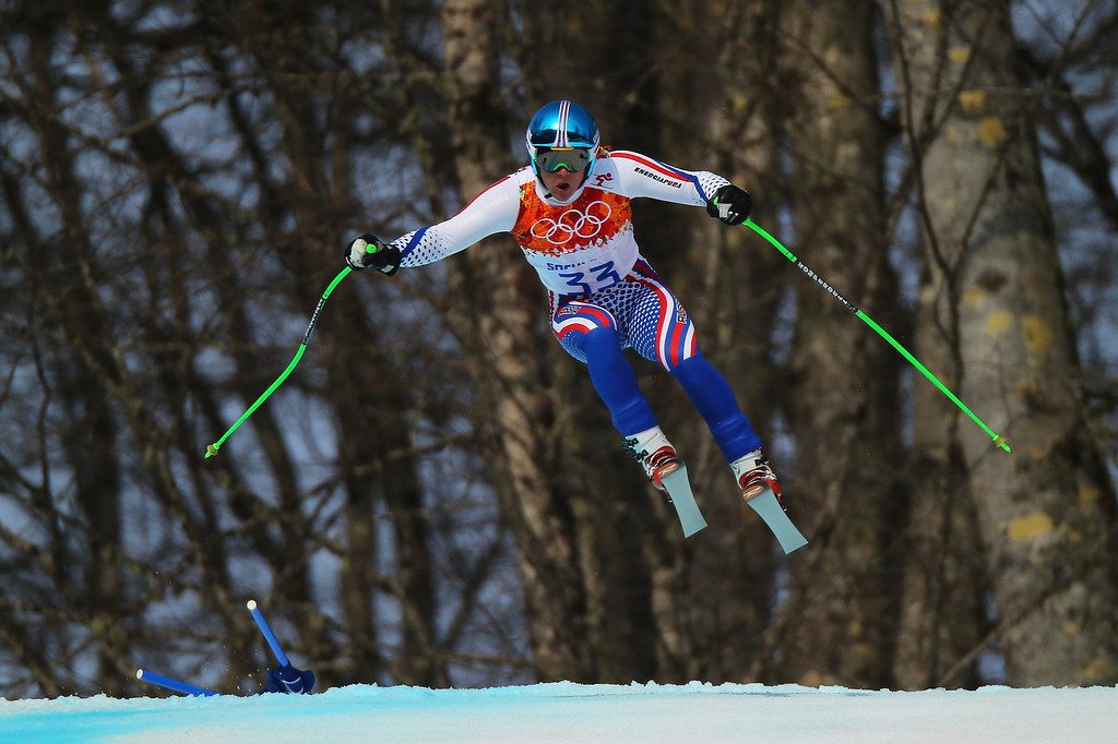 . Pavel Trikhichev of Russia skis during the Alpine Skiing Men\'s Super-G on day 9 of the Sochi 2014 Winter Olympics at Rosa Khutor Alpine Center on February 16, 2014 in Sochi, Russia.  (Photo by Clive Rose/Getty Images)