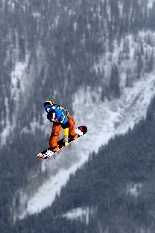 . Seppe Smits rides during the slopestyle finals of the Copper Mountain Grand Prix.  (Photo by AAron Ontiveroz/The Denver Post)