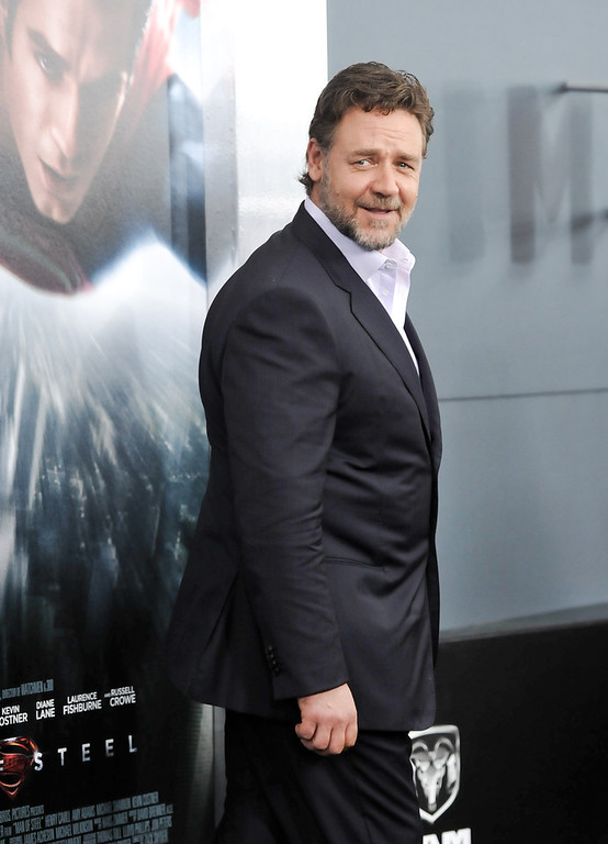 """. Actor Russell Crowe attends the \""""Man Of Steel\"""" world premiere at Alice Tully Hall on Monday, June 10, 2013 in New York. (Photo by Evan Agostini/Invision/AP)"""