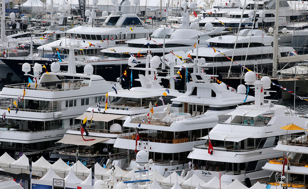 . Yachts are showing at the 24th edition of the Monaco Yacht Show, Wednesday, Sept. 25, 2013, in Monaco.(AP Photo/Lionel Cironneau)