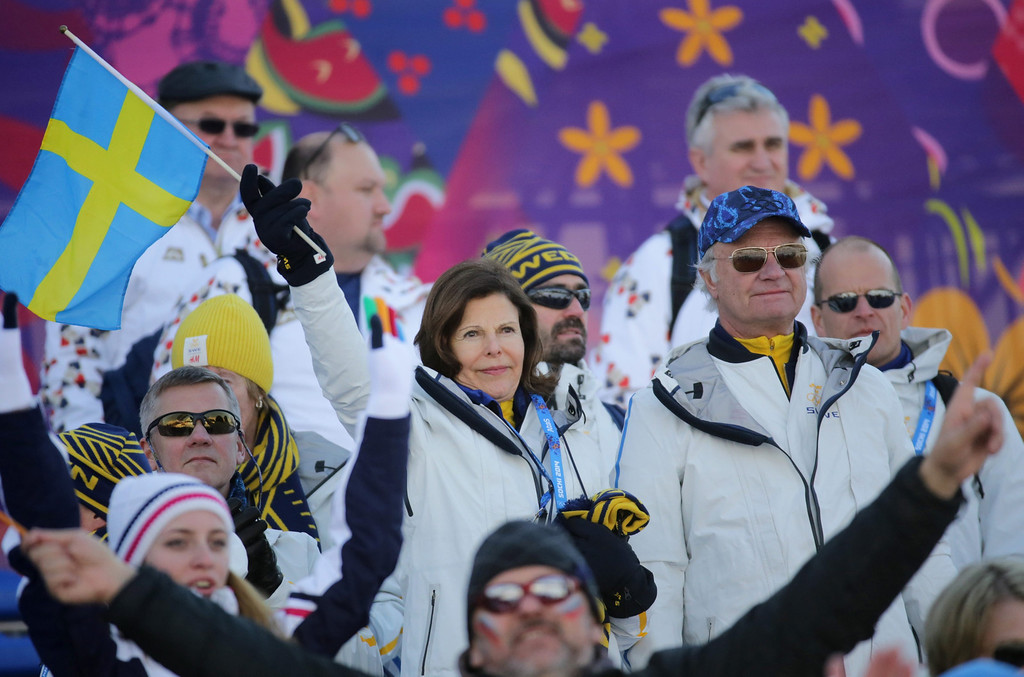 . King Carl Gustaf of Sweden and Queen Silvia of Sweden attend the Men?s Relay 4x10 km competition in Laura Cross-country Ski & Biathlon Center at the Sochi 2014 Olympic Games, Krasnaya Polyana, Russia, 16 February 2014.  EPA/KAY NIETFELD