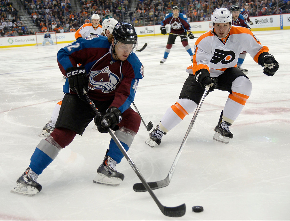 . Colorado Avalanche center Brad Malone (42) skates to the puck with Philadelphia Flyers defenseman Nicklas Grossmann (8) during the third period January 2, 2014 at Pepsi Center. (Photo by John Leyba/The Denver Post)