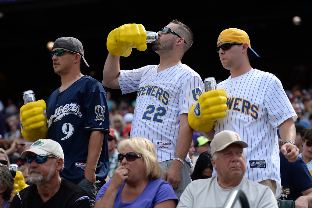 . DENVER, CO - JUNE 20: Milwaukee fans found a way to beat the heat on the very warm day. The Colorado Rockies hosted the Milwaukee Brewers at Coors Field Saturday afternoon, June 21, 2014. Photo by Karl Gehring/The Denver Post