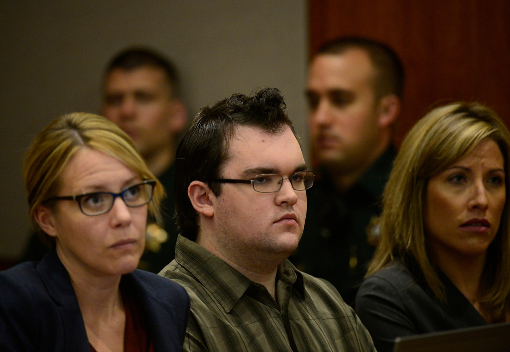 . Austin Sigg looked forward at the judge, in district court in Golden, as his sentence was read, November 19, 2013. Sigg, who pleaded guilty to the kidnapping and murder of 10-year-old Jessica Ridgeway, was in Courtroom 1-A with Chief Judge Stephen M. Munsinger presiding over the hearing. (Photo by RJ Sangosti/The Denver Post)