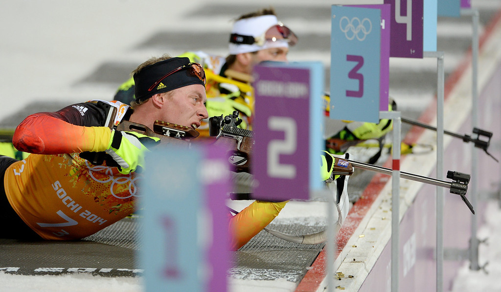 . Daniel Boehm of Germany in action during the Mixed Relay competition at the Laura Cross Biathlon Center during the Sochi 2014 Olympic Games, Krasnaya Polyana, Russia, 19 February 2014.  EPA/VALDRIN XHEMAJ