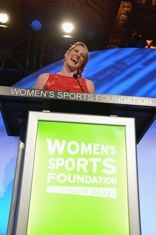 . NEW YORK, NY - OCTOBER 16:  Olympic gold medalist Missy Franklin speaks onstage during the 34th annual Salute to Women In Sports Awards at Cipriani, Wall Street on October 16, 2013 in New York City.  (Photo by Mike Coppola/Getty Images for the Women\'s Sports Foundation)