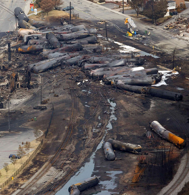 . The remains of a burnt train are seen in Lac Megantic, July 8, 2013.  REUTERS/Mathieu Belanger