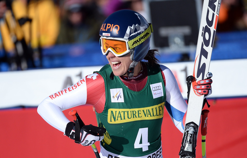. Switzerland\'s Fraenzi Aufdenblatten reacts after crossing the finish line to place sixth in the women\'s downhill at the FIS Ski World Cup in Beaver Creek, Colorado, November, 29, 2013. AFP PHOTO/Emmanuel DUNAND/AFP/Getty Images
