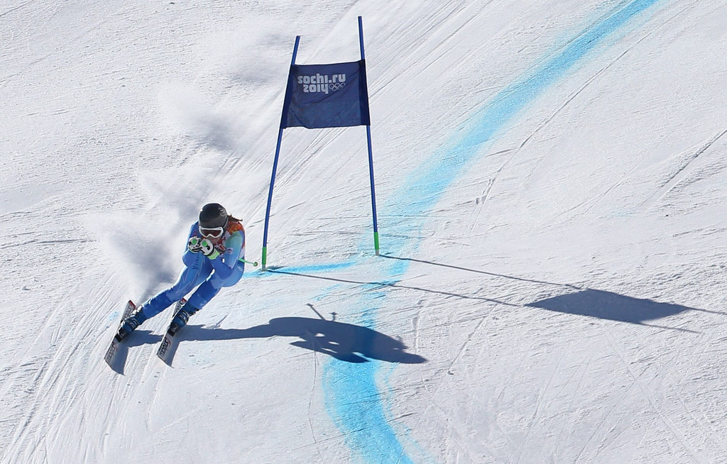 . ina Maze of Slovenia in action during the Women\'s Downhill race at the Rosa Khutor Alpine Center during the Sochi 2014 Olympic Games, Krasnaya Polyana, Russia, 12 February 2014.  EPA/KARL-JOSEF HILDENBRAND