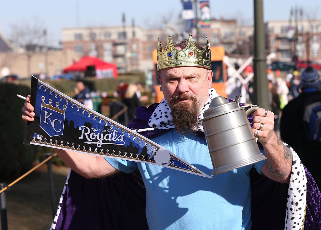 . A fan poses on Opening Day before the game between the Kansas City Royals and the Detroit Tigers at Comerica Park on March 31, 2014 in Detroit, Michigan.  (Photo by Leon Halip/Getty Images)