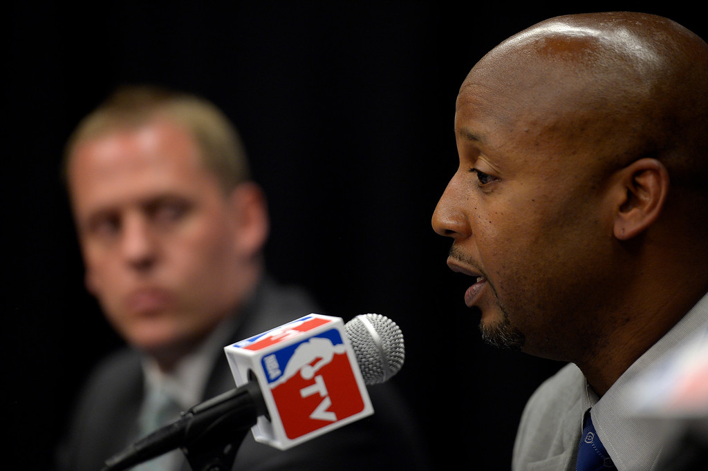 . The Denver Nuggets new head coach Brian Shaw at a press conference June 25, 2013 during a press conference  at Pepsi Center. (Photo By John Leyba/The Denver Post)