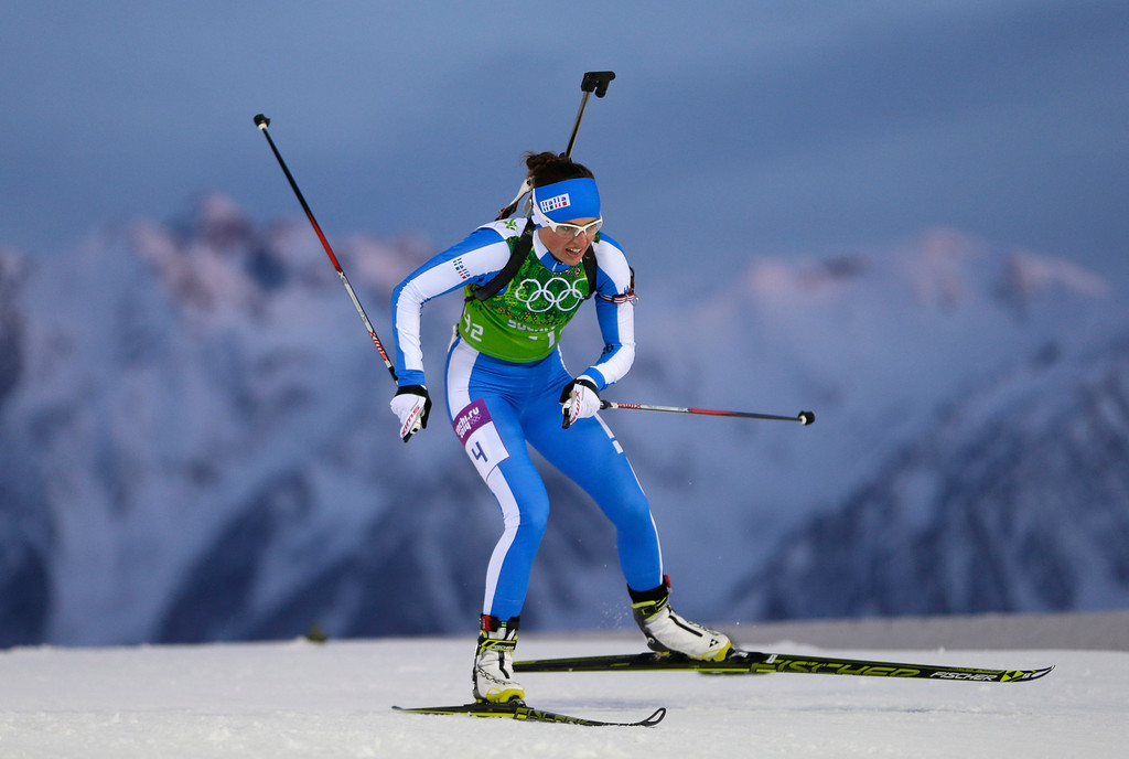 . Italy\'s Karin Oberhofer skis during the mixed biathlon relay at the 2014 Winter Olympics, Wednesday, Feb. 19, 2014, in Krasnaya Polyana, Russia. (AP Photo/Felipe Dana)