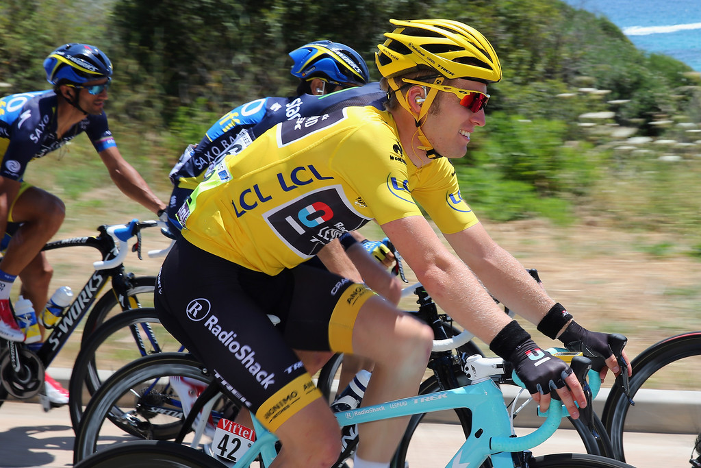 . Race leader Jan Bakelants of Belgium and Radioshack Leopard rides in the peloton during stage three of the 2013 Tour de France, a 145.5KM road stage from Ajaccio to Calvi, on July 1, 2013 in Calvi, France.  (Photo by Bryn Lennon/Getty Images)