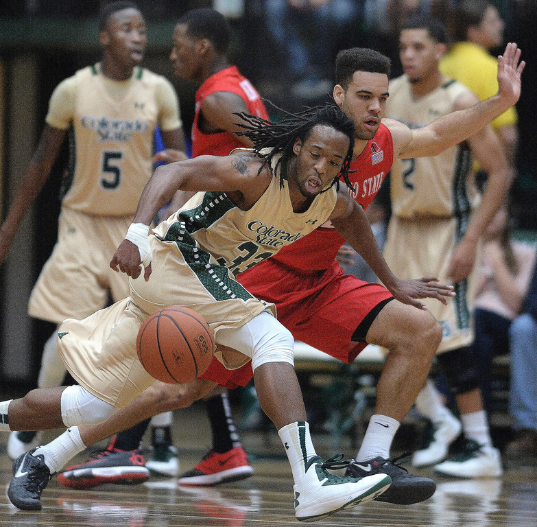 . Rams\' guard Dwight Smith (33) lost the ball as he tried to get past Aztecs defender JJ O\'Brien (20) in the first half. The Colorado State men\'s basketball team hosted San Diego State Wednesday night, January 1, 2014. Photo By Karl Gehring/The Denver Post