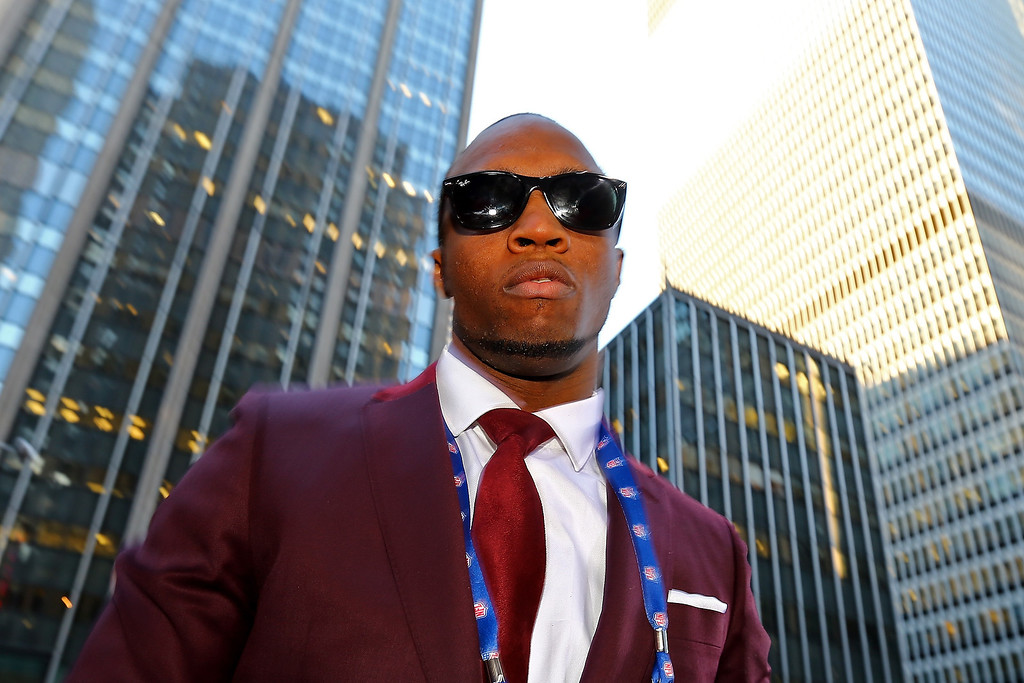 . Tavon Austin of West Virginia Mountaineers arrives on the red carpet for the first round of the 2013 NFL Draft at Radio City Music Hall on April 25, 2013 in New York City.  (Photo by Al Bello/Getty Images)