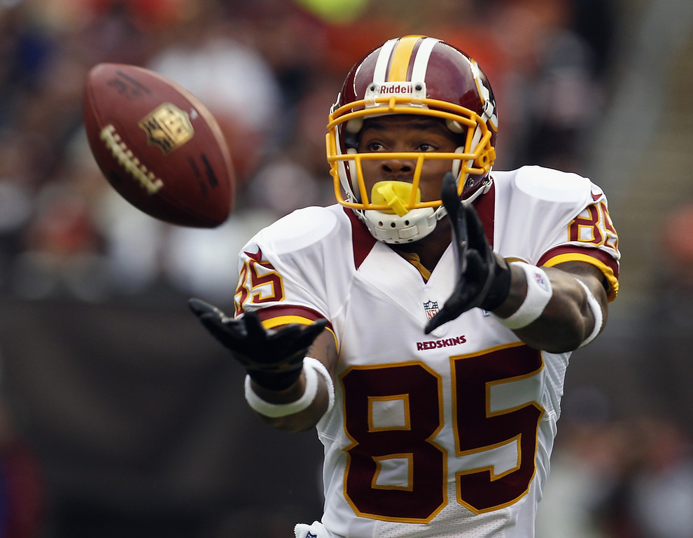 . Wide receiver Leonard Hankerson #85 of the Washington Redskins catches a pass for a touchdown against the Cleveland Browns at Cleveland Browns Stadium on December 16, 2012 in Cleveland, Ohio.  (Photo by Matt Sullivan/Getty Images)