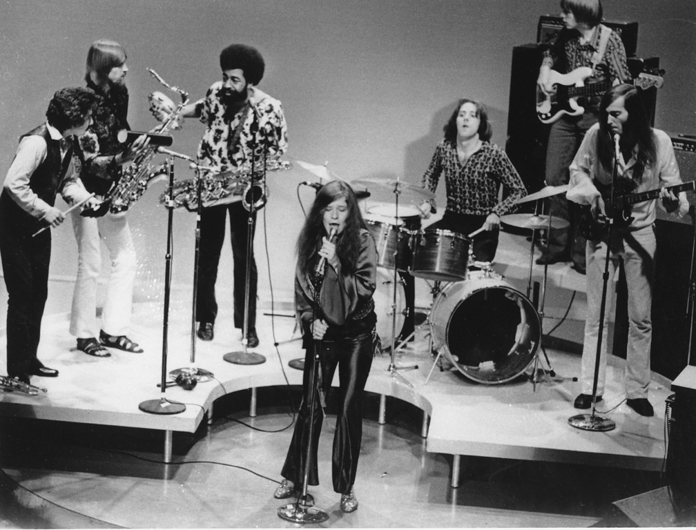 . Rock-folk singer Janis Joplin performs with her group in Dec. 1969 at an unknown location.  (AP Photo)
