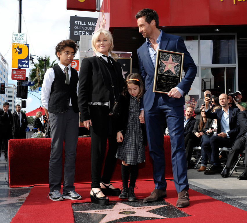 . From left to right, Oscar Jackman, actress Deborra-Lee Furness, Ava Jackman, and actor Hugh Jackman pose together at Hugh Jackman\'s star ceremony at the Hollywood Walk of Fame on Thursday, Dec. 13, 2012, in Los Angeles. (Photo by Dan Steinberg/Invision/AP)