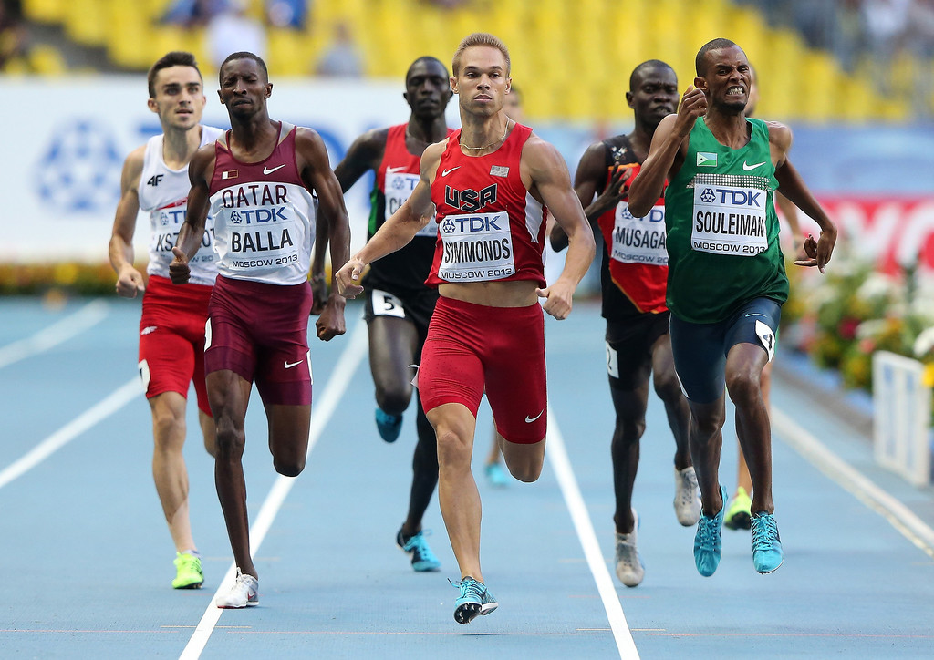 . (L-R) Nick Symmonds of the United States and Ayanleh Souleiman of Djibouti compete in the Men\'s 800 metres semi final during Day Two of the 14th IAAF World Athletics Championships Moscow 2013 at Luzhniki Stadium on August 11, 2013 in Moscow, Russia.  (Photo by Ian Walton/Getty Images)