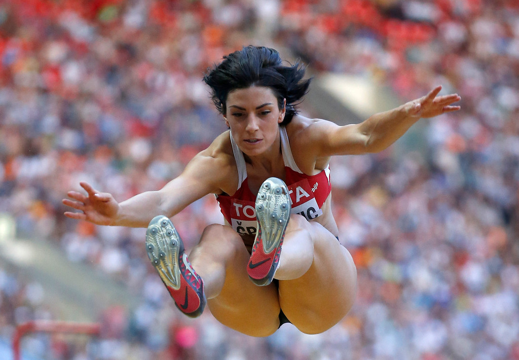 . Serbia\'s Ivana Spanovic competes in the women\'s long jump final at the World Athletics Championships in the Luzhniki stadium in Moscow, Russia, Sunday, Aug. 11, 2013. (AP Photo/Matt Dunham)