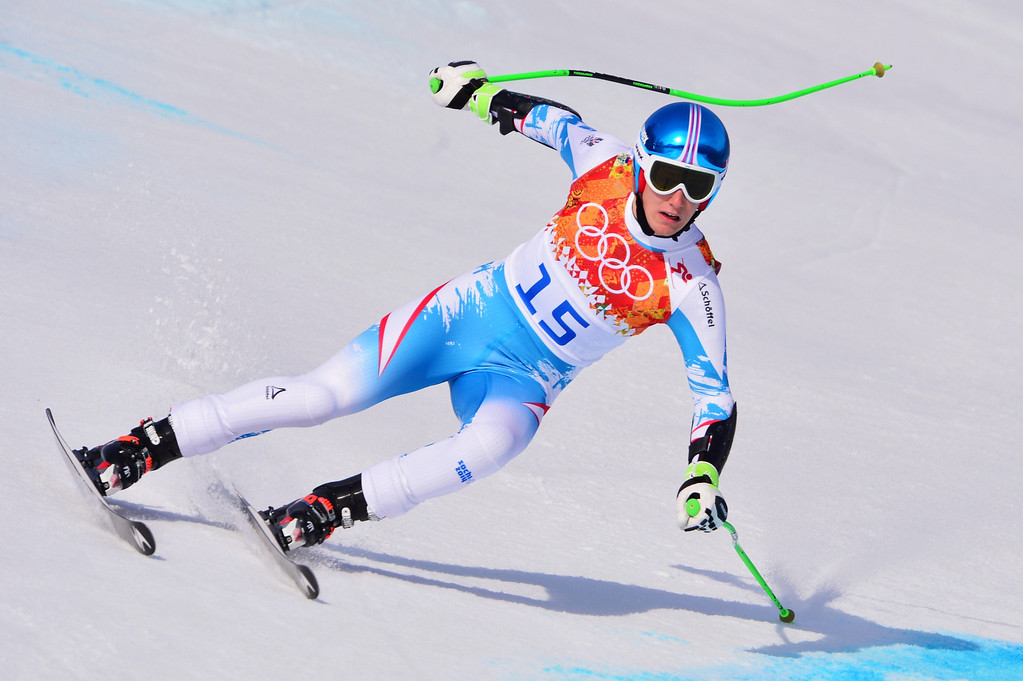 . Austria\'s Otmar Striedinger competes during the Men\'s Alpine Skiing Super-G at the Rosa Khutor Alpine Center during the Sochi Winter Olympics on February 16, 2014. DIMITAR DILKOFF/AFP/Getty Images