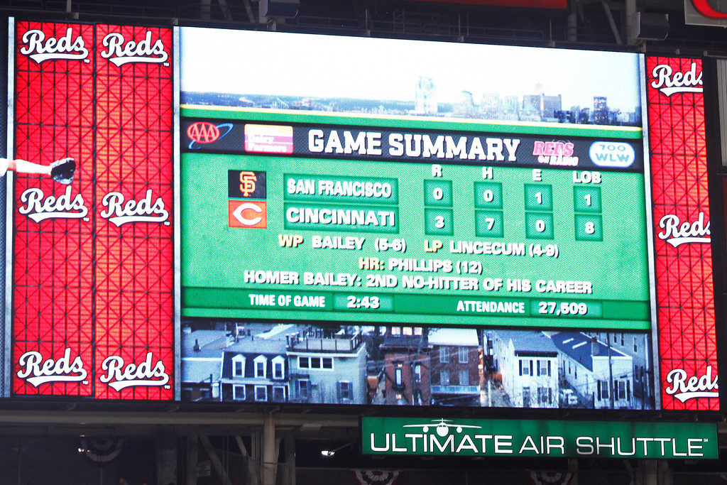 . CINCINNATI, OH - JULY 2: General view of the scoreboard after Homer Bailey #34 of the Cincinnati Reds threw a no-hitter against the San Francisco Giants at Great American Ball Park on July 2, 2013 in Cincinnati, Ohio. The Reds won 3-0. (Photo by Joe Robbins/Getty Images)