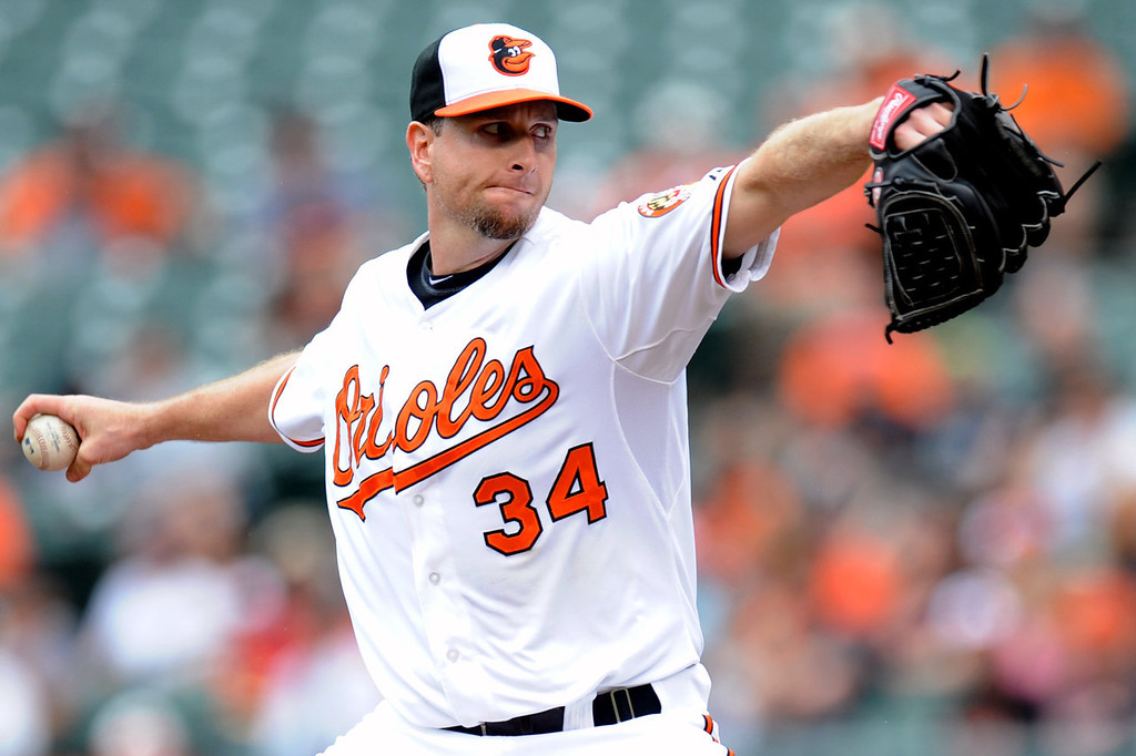 . Scott Feldman #34 of the Baltimore Orioles pitches during a baseball game against the Colorado Rockies on August 18, 2013 at Oriole Park at Camden Yards in Baltimore, Maryland.  (Photo by Mitchell Layton/Getty Images)