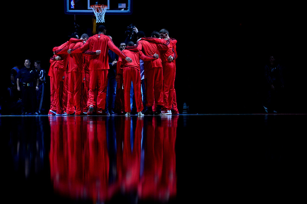 . DENVER, CO - APRIL 14: The Portland Trail Blazers before the first half of action. The Denver Nuggets play the Portland Trail Blazers at the Pepsi Center. (Photo by AAron Ontiveroz/The Denver Post)