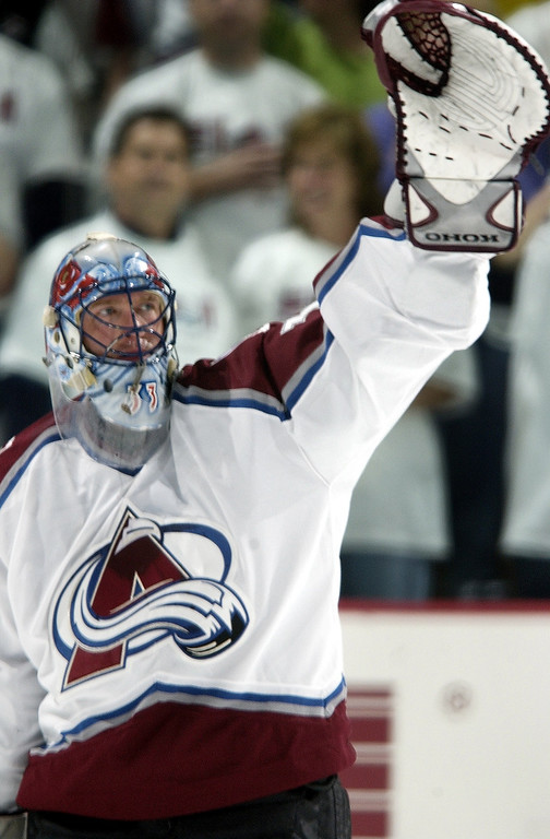 . Colorado Avalanche G Patrick Roy waves to his wife in the stands after the Avalanche victory against the Detroit Red Wings in game 4 of the Western Confrence Finals at Pepsi Center 3-2. Roy was the #1 star of the game and made 31 saves.