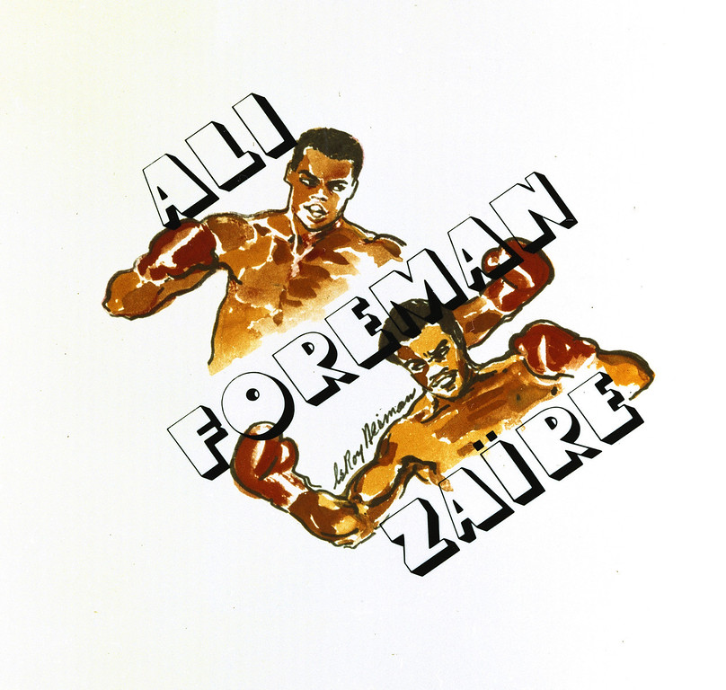 . This is advertising art for the Muhammad Ali-George Foreman bout in Zaire, 1974.  (AP Photo)